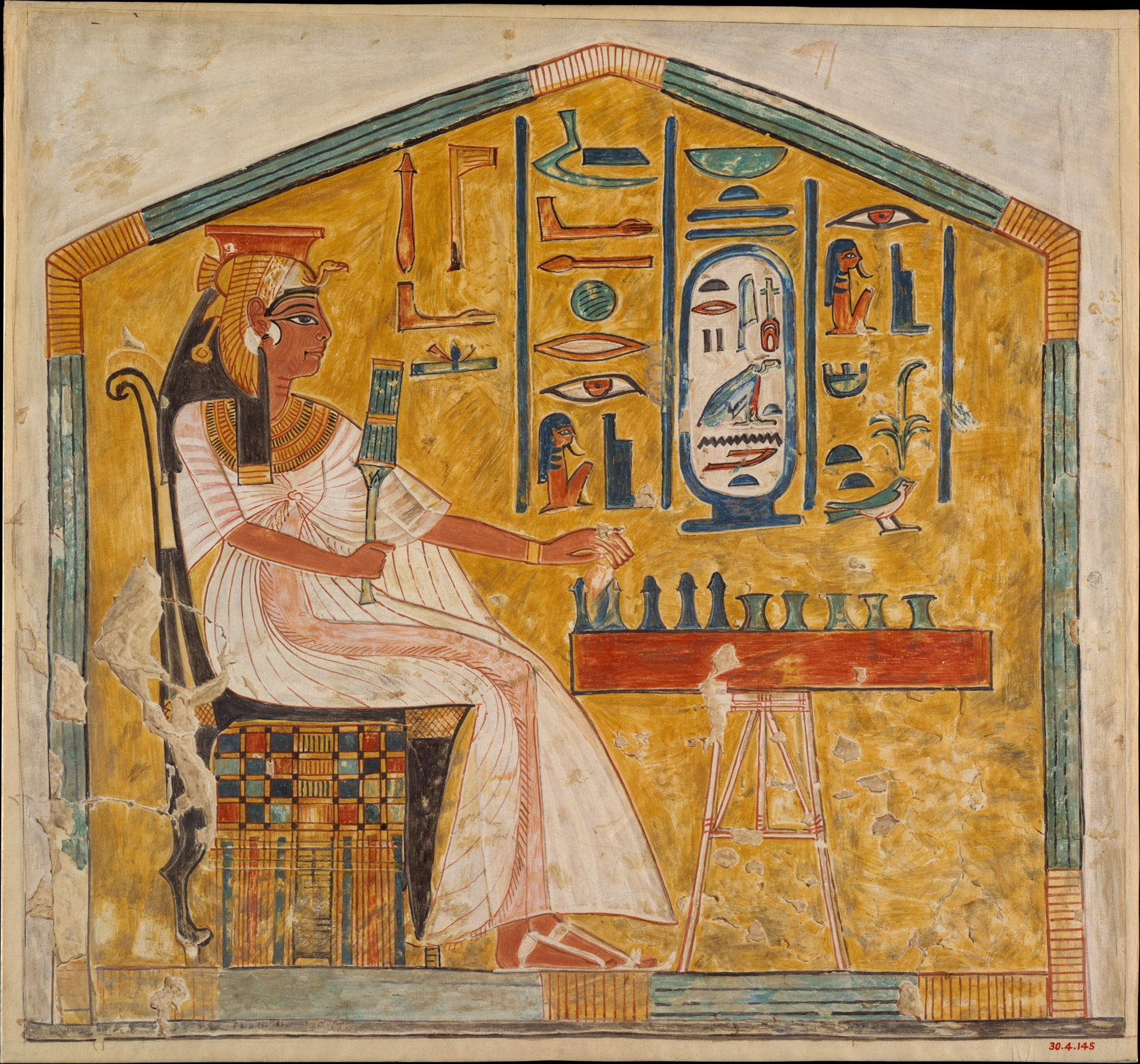 A queen plays a favorite board game, Senet, in a scene from her tomb. The ancients were big into board games.   Courtesy of the Metropolitan Museum of Art
