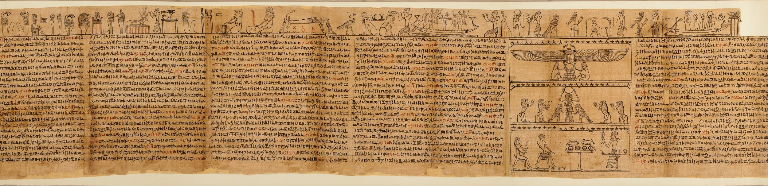 The Egyptians basically invented paper, like this ancient papyrus scroll, but not that many people could write in their beautiful hieroglyphics. From the Book of the Dead of the Priest of Horus, Imhotep (Imuthes), ca. 332–200 BCE.  Courtesy of the Metropolitan Museum of Art.