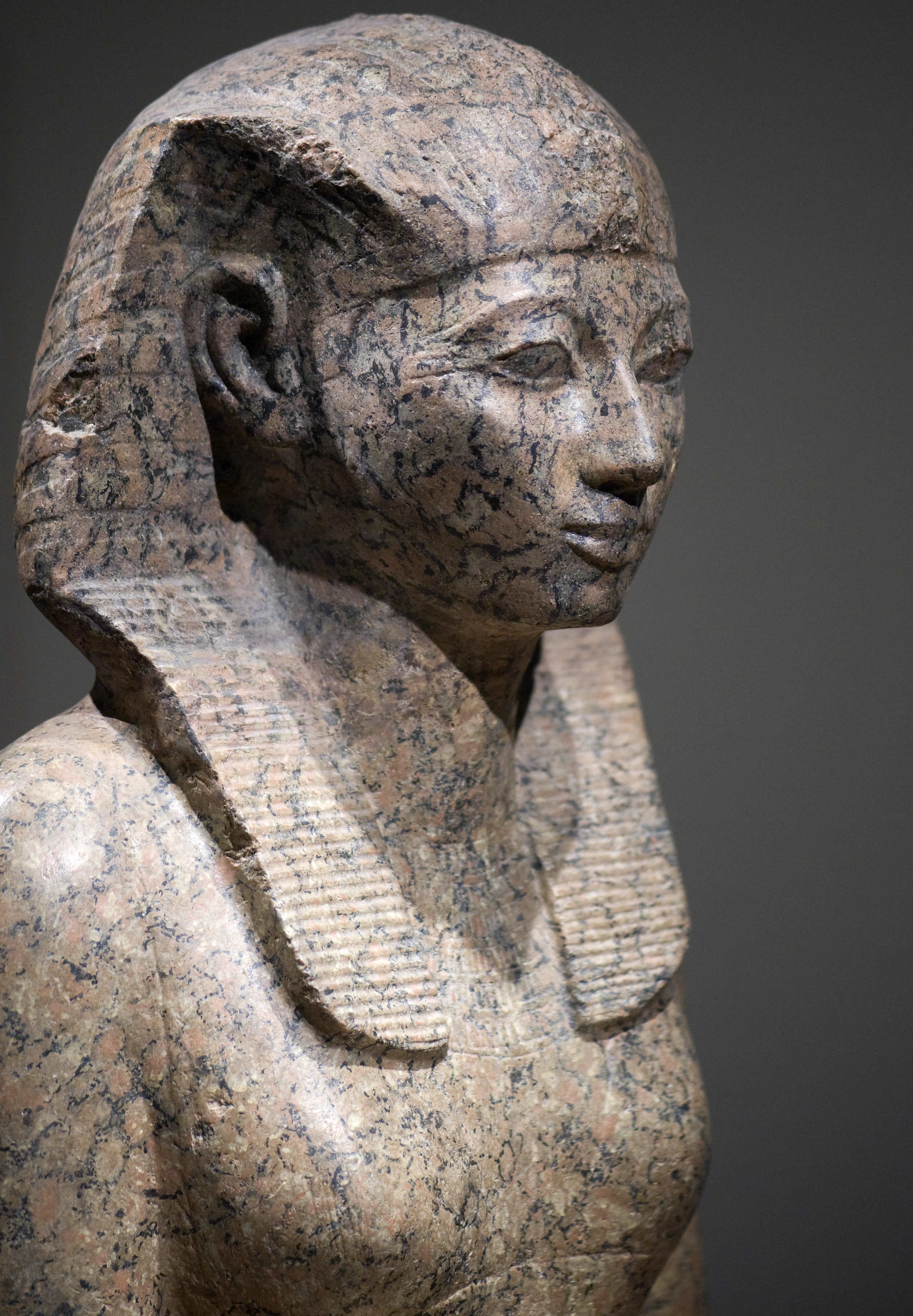 Hatshepsut, looking quite fine in marble. She put images of herself ALL over the country, cementing her authority even before she took the top spot.   Wikicommons