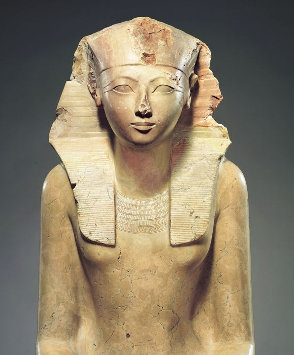 An early bust of Hatshepsut, where she wears royal kingly headdress, but also isn't afraid to have her lady bits included in her image.   Courtesy of the Metropolitan Museum of Art