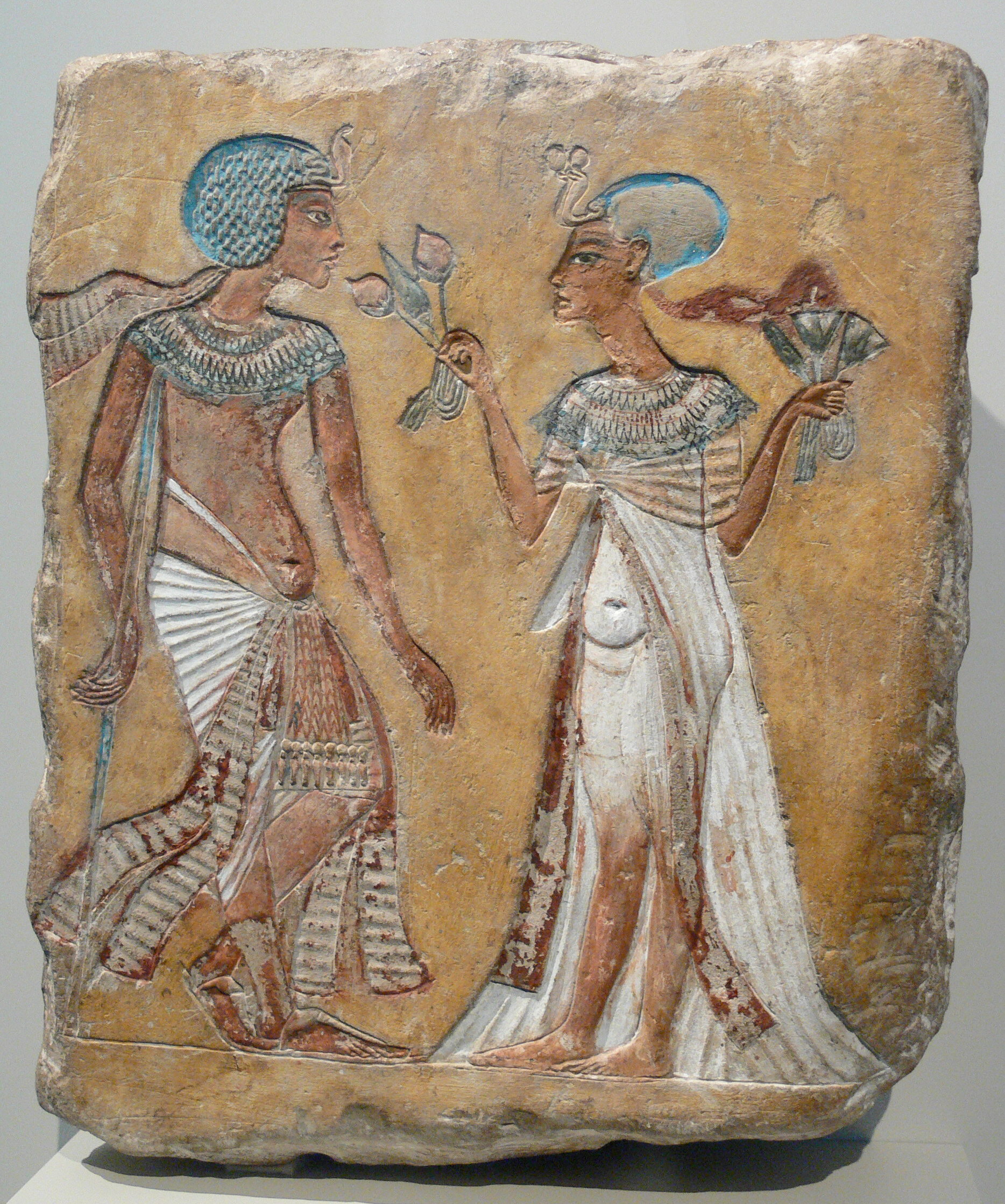 This image is commonly taken to be Smenkhkare and Meritaten, though it may be Tutankhamun and Ankhesenamun. Ancient history gets very confusing. - Courtesy of the Neues Museum, Berlin