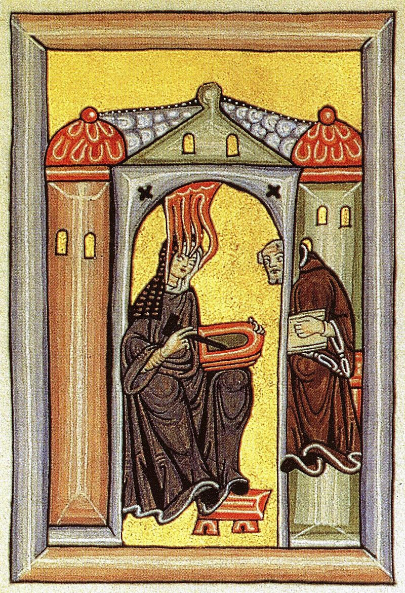 i'm having a vision…of hops going into beer! - Hildegard of Bingen, one of the first people to write about the benefits of adding hops to beer. Illumination from the Liber Scivias showing Hildegard receiving a vision and dictating to her scribe and secretary, from Wikicommons.