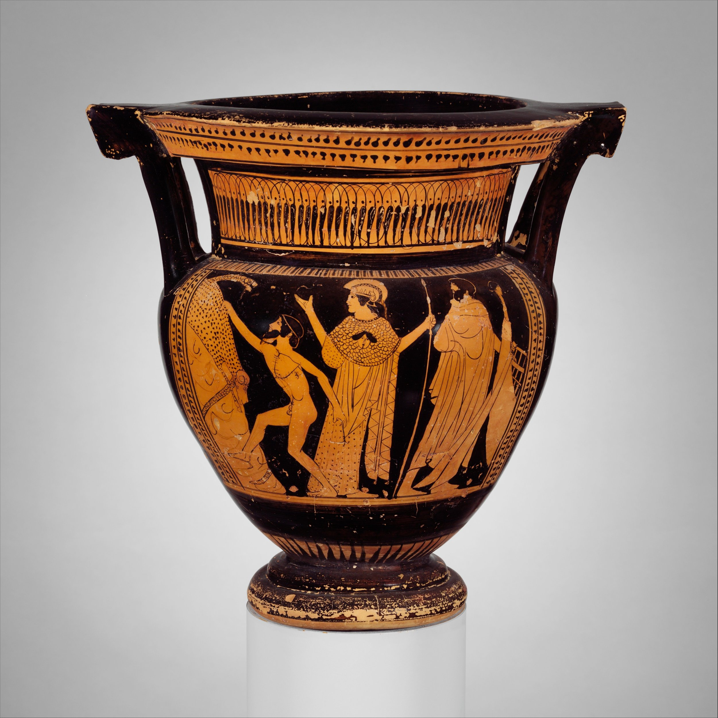 let's go traveling! - Terracotta column-krater (a bowl for mixing wine and water) showing Jason and his hunt for the Golden Fleece. Courtesy of the MET.