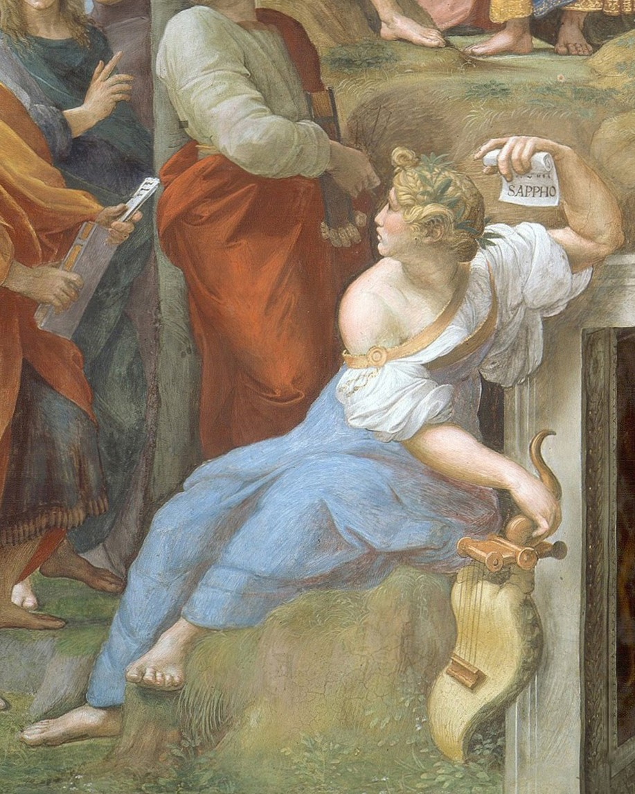 This is probably not what Sappho looked like. But points for trying. - Detail of Sappho from Raphael's Parnassus (1510-11), shown alongside other poets. Wikicommons.