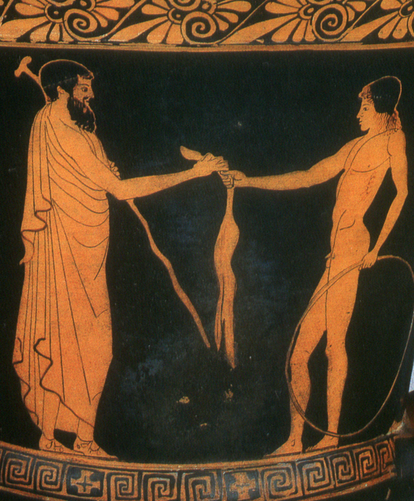 Time traveling hint: if someone offers you a rabbit or a leg of mutton, they probably are making a sultry move on you. There are much racier Greek vases with same-sex love scenes on them, but I'll let you Google those for yourself. - A love gift: a man presents a leg of mutton to a youth with a hoop, in an allusion to pederasty. Athenian red-figure vase, ca. 460 BCE