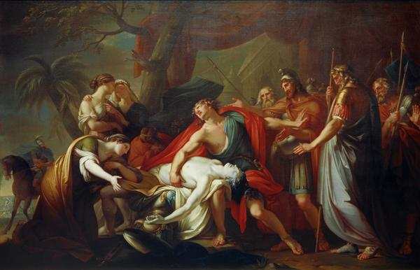 Would you say Achilles is taking the death of his maybe-lover well? Nope. Not well at all. - Achilles Lamenting the Death of Patroclus, 1760, Gavin Hamilton, National Galleries Scotland.