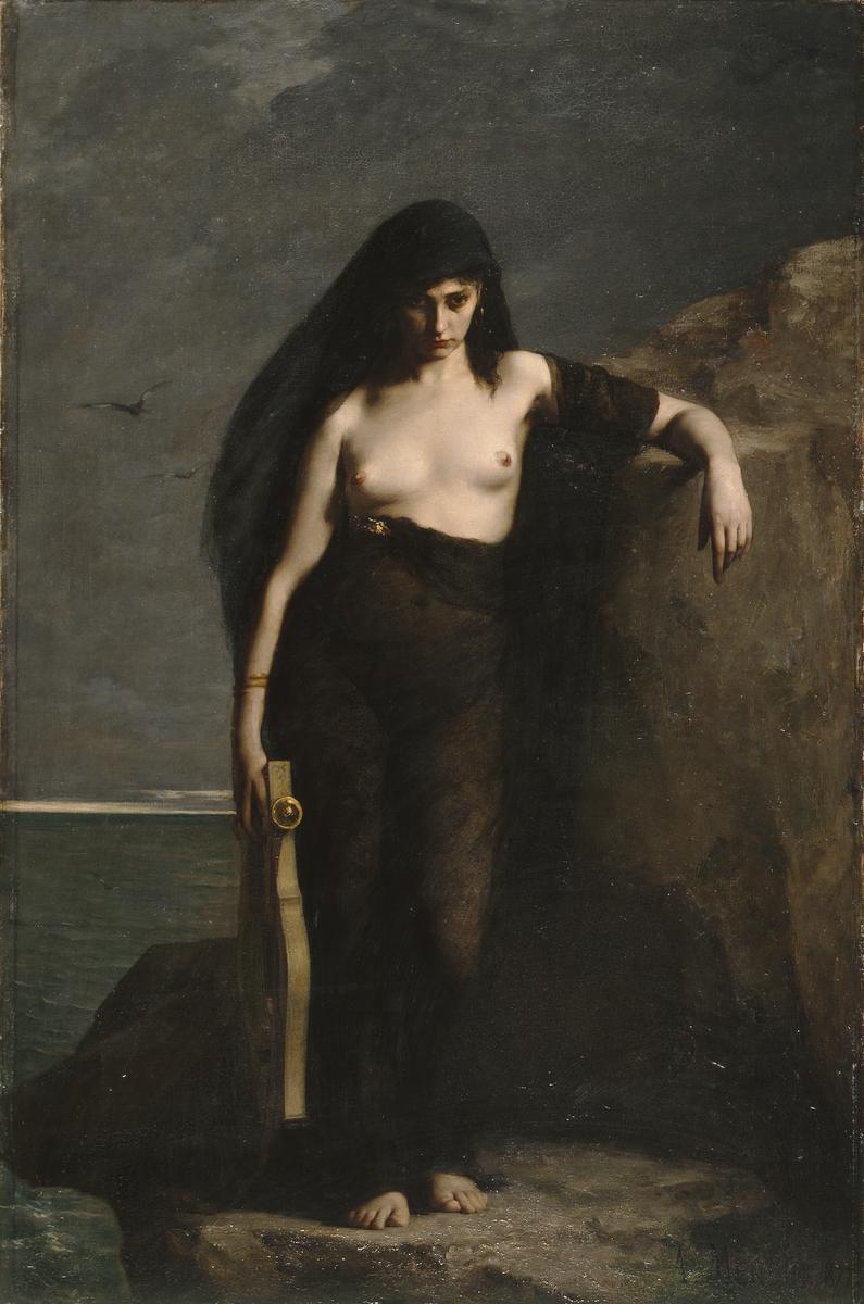 I guess this guy agrees with Strabo about the whole jumping-off-a-cliff thing, looking super emo. But I'm not buying it for a second. - Sappho (1877) by Charles Mengin, Wikicommons.