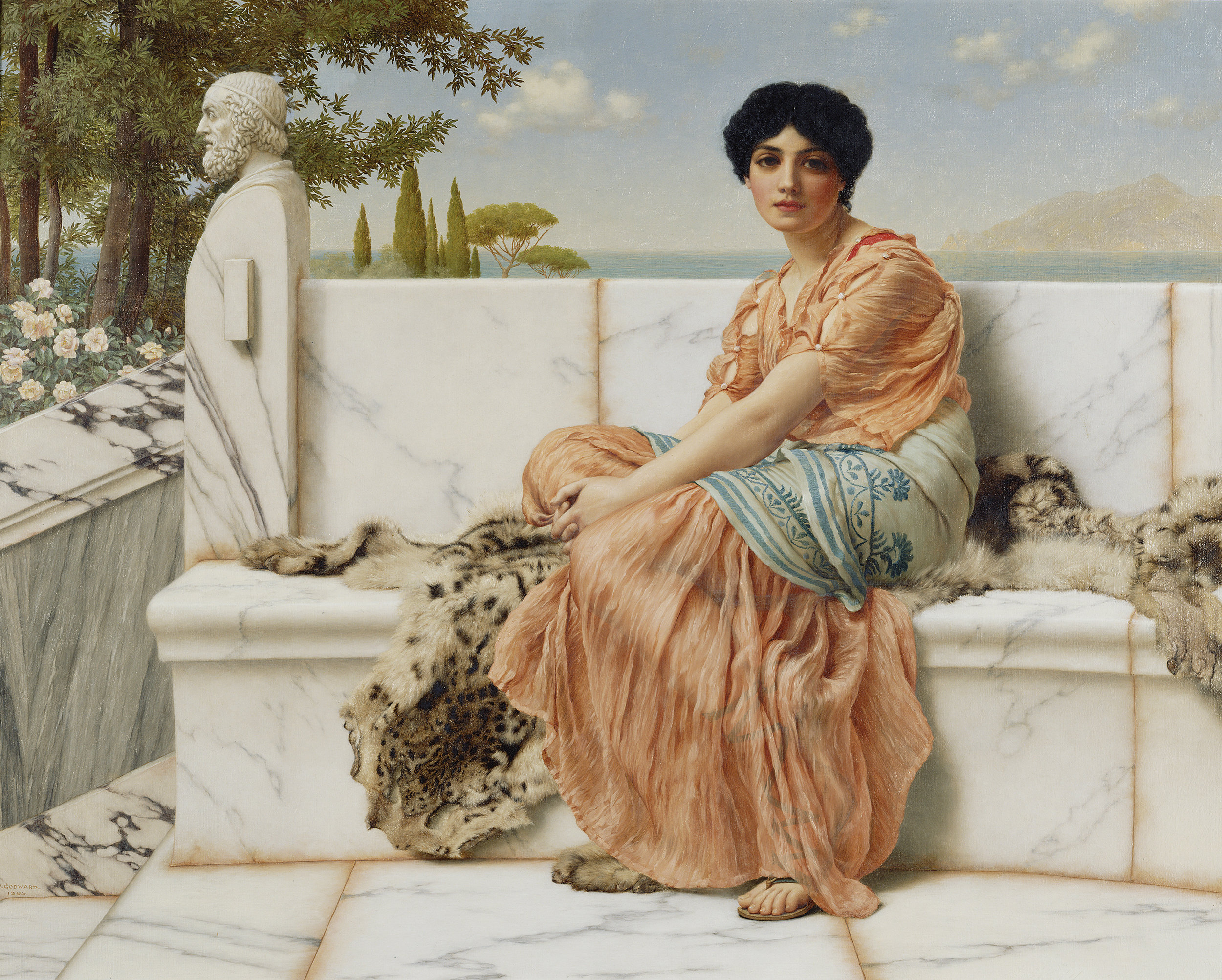 - Reverie or In The Days of Sappho, John William Godward, courtesy of the Getty Museum