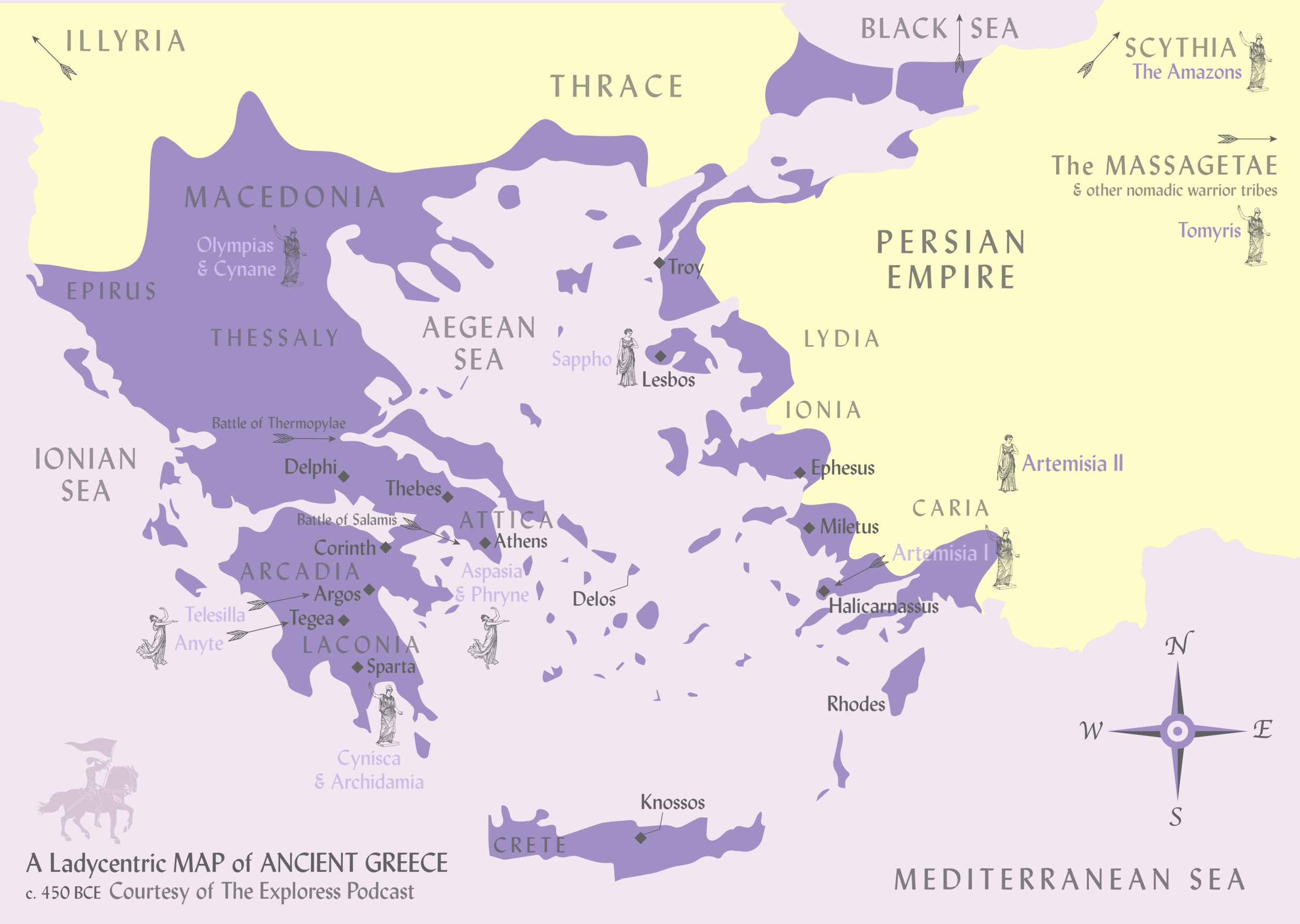 This map of ancient Greece highlights the women and places we touch on this season. It really comes to life when printed out at full size: so hop over to my Etsy shop and check it out!