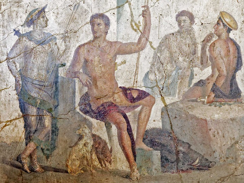 Meleager thinking about how beautiful Atalanta looked while spearing the Caledonian Boar. - A fresco from Pompeii, on view at the National Archaeological Museum of Naples.