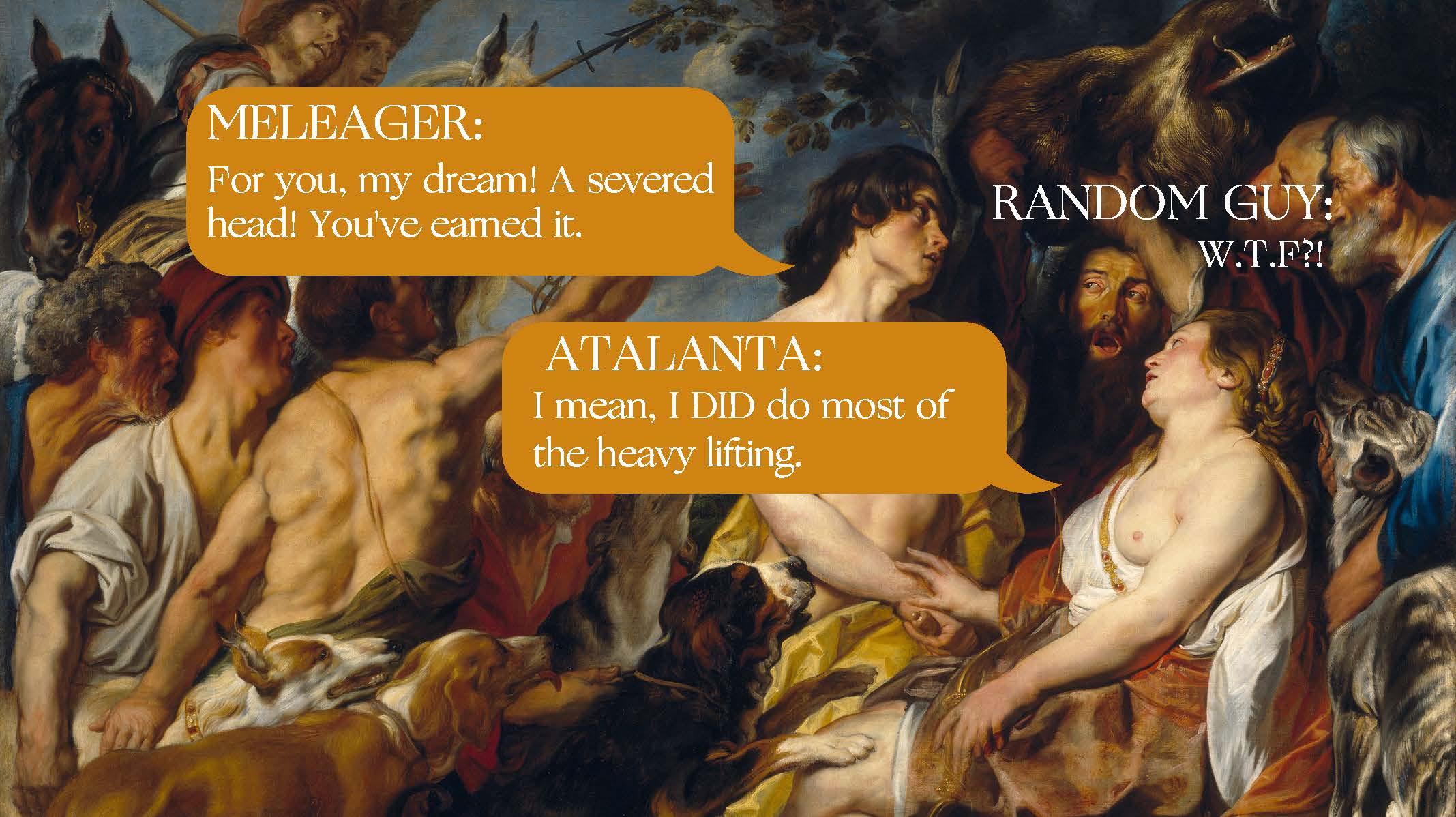 Meleager and Atalanta  by Jacob Jordaens (1620-1650).