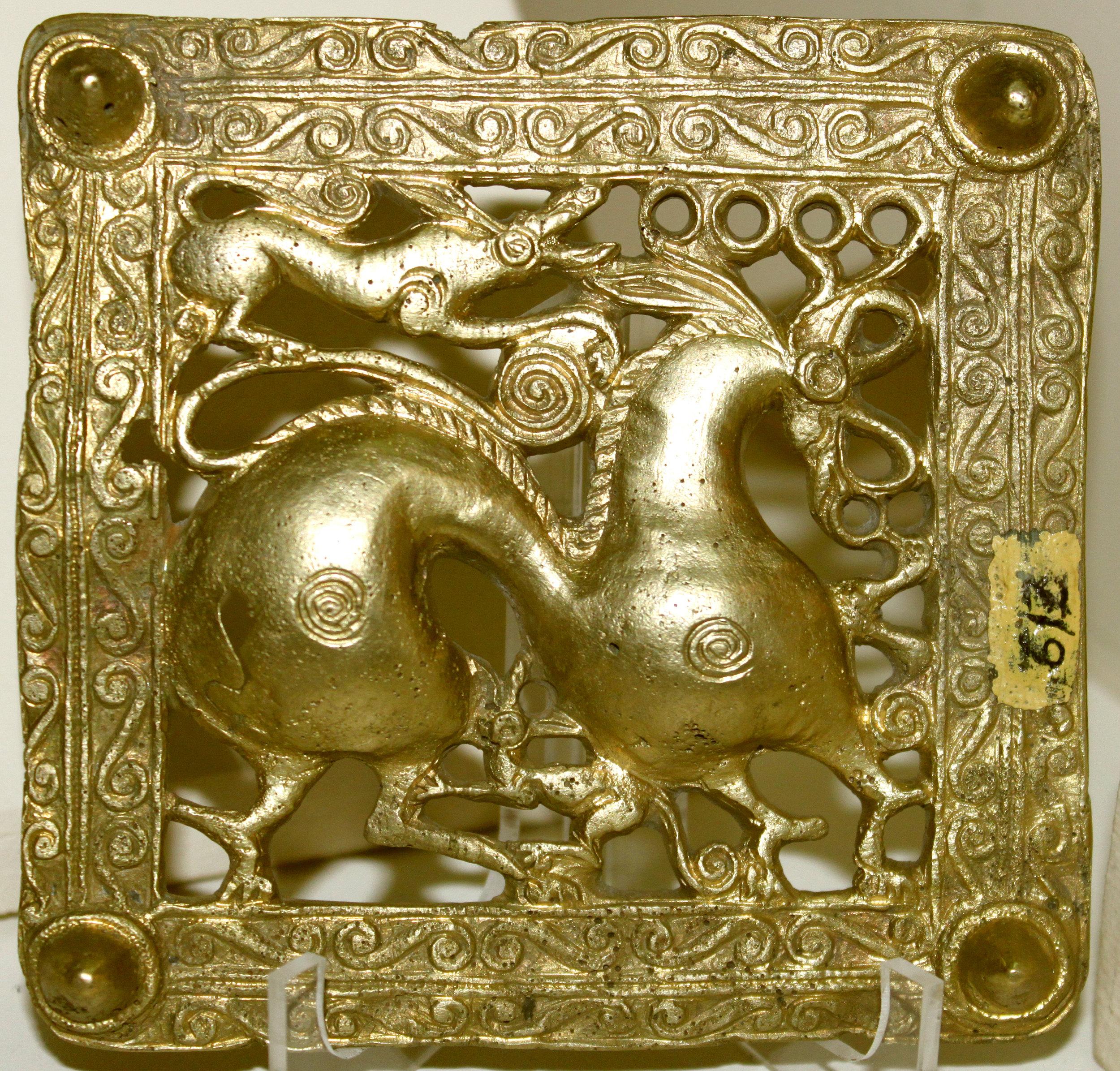 Gold Scythian belt title from Mingachevir (ancient Scythian kingdom), Azerbaijan, and the 7th century BC. Wikicommons