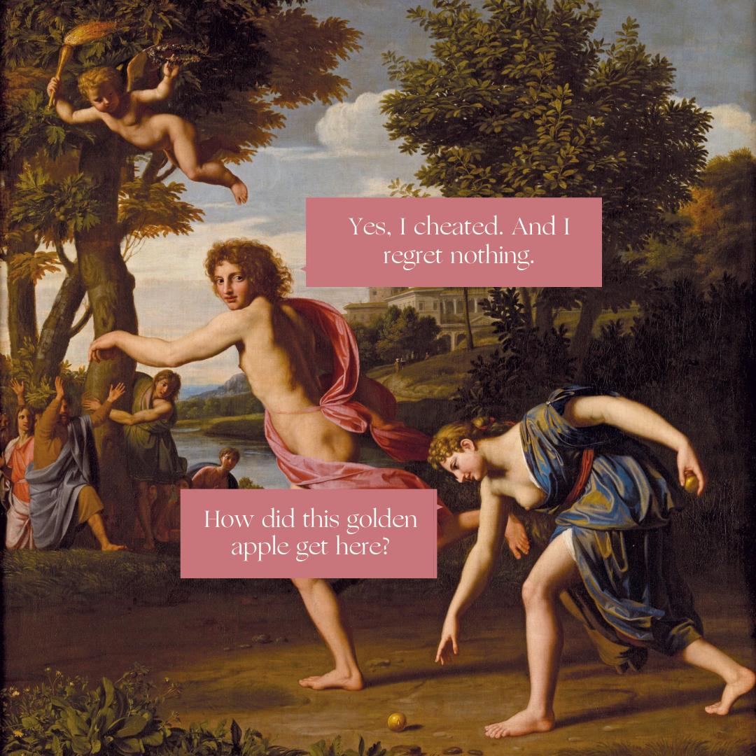 "Atalanta and Hipponemes racing each other. ""Atalanta and Hippomenes""  ( c. 1699) by Nicolas Colombel."