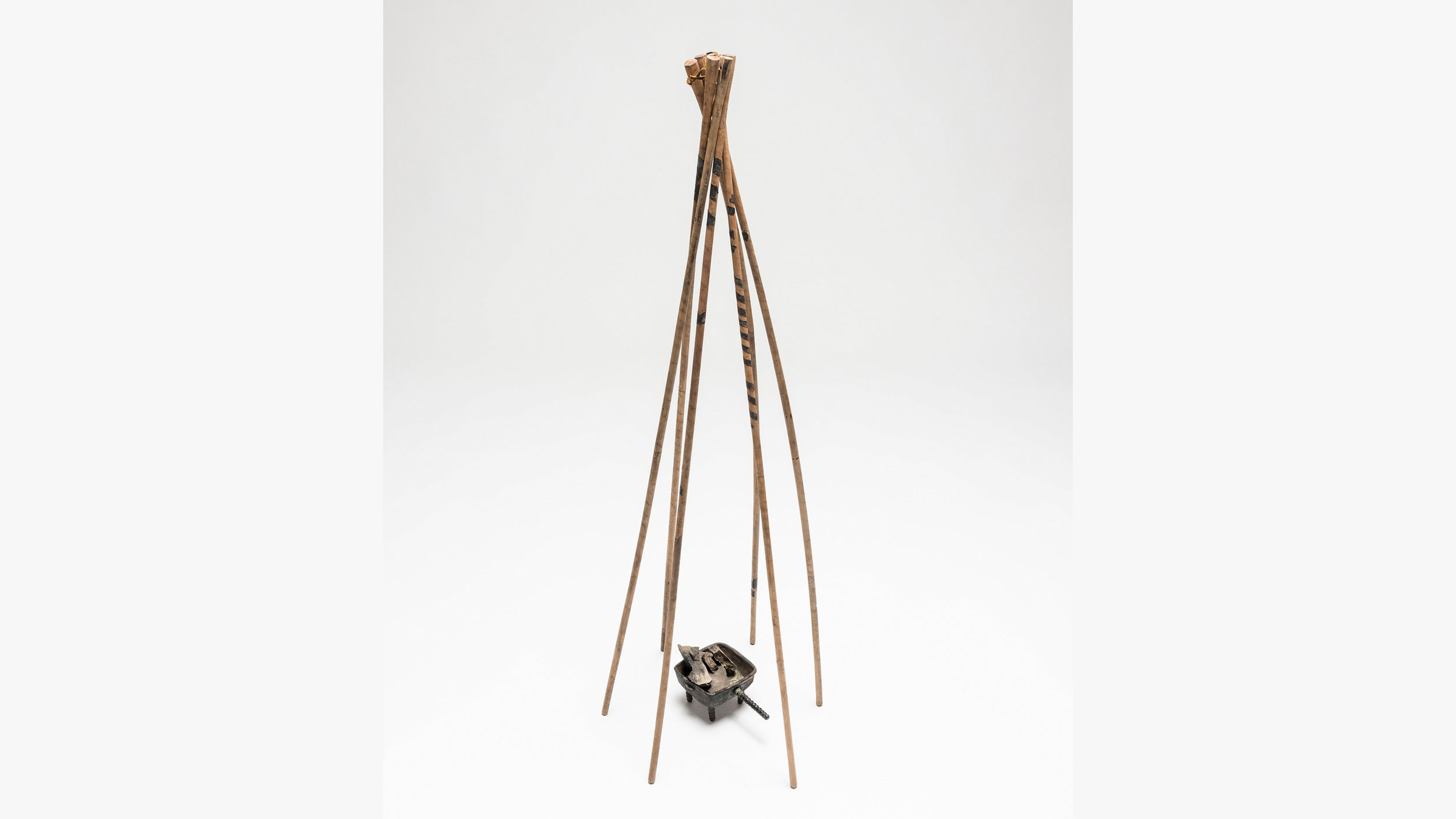 Let's set up a little felt teepee and have some herb-sponsored fun, shall we? - The six sticks of a smoking tent frame and a brazier, Pazyryk 2, late 4th-early 3rd century BCE. From the State Hermitage Museum, St Petersburg, courtesy of the British Museum.