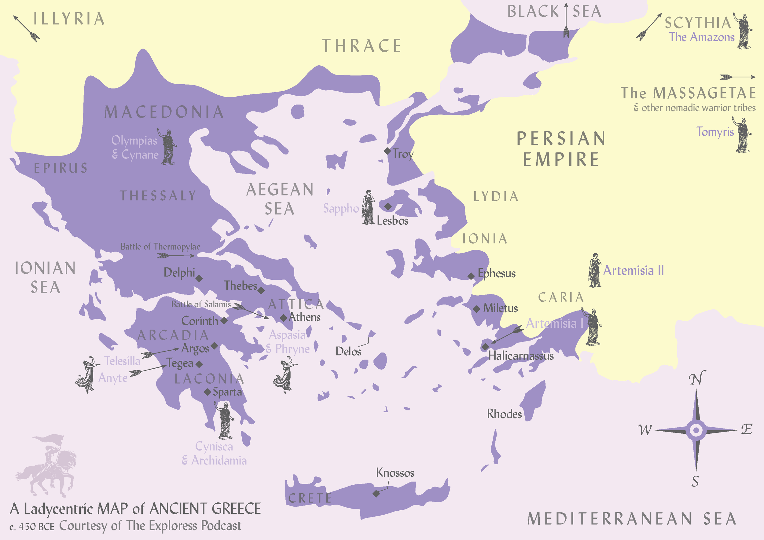 This map gives you at least some idea where the so-called Amazons lived, though their territory was very wide-ranging and stretched very, VERY far outside the average Greek's world. If you like this map, check out the Exploress Etsy shop: you'll find the map for sale, and it makes a great conversation piece hanging up in your office or a nice gift for the ancient lady-loving history enthusiast in your life.