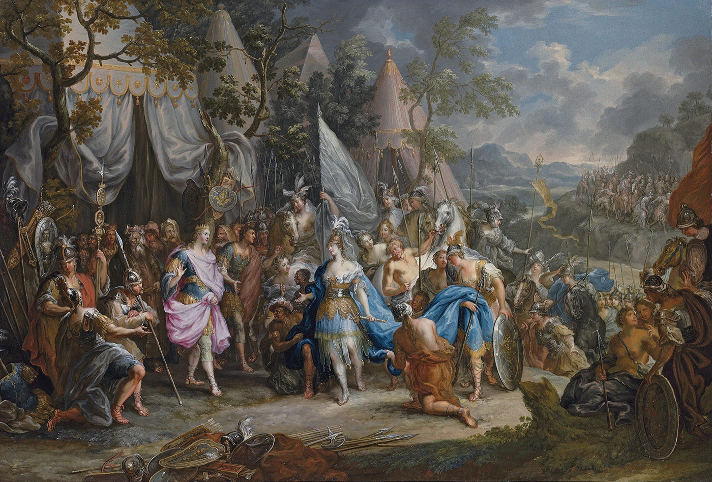 A clash of titans. - The Amazon Queen, Thalestris, in the Camp of Alexander the Great by Johann Georg Platzer, c.1750.
