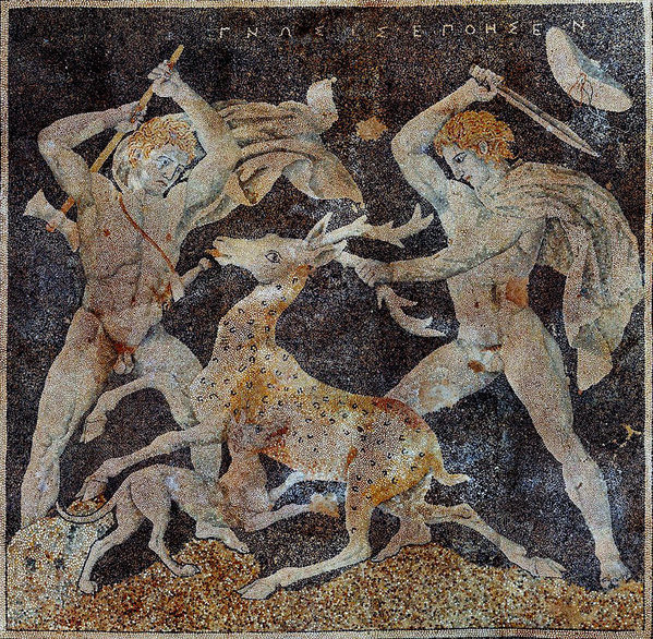 Stabbing things while naked! It's the ancient Macedonian way (except not really). - The Stag Hunt Mosaic, c. 300 BC, from Pella. the figure on the right is possibly Alexander; the figure on the left wielding a double-edged axe could be Hephaestion, one of Alexander's favorite bros.