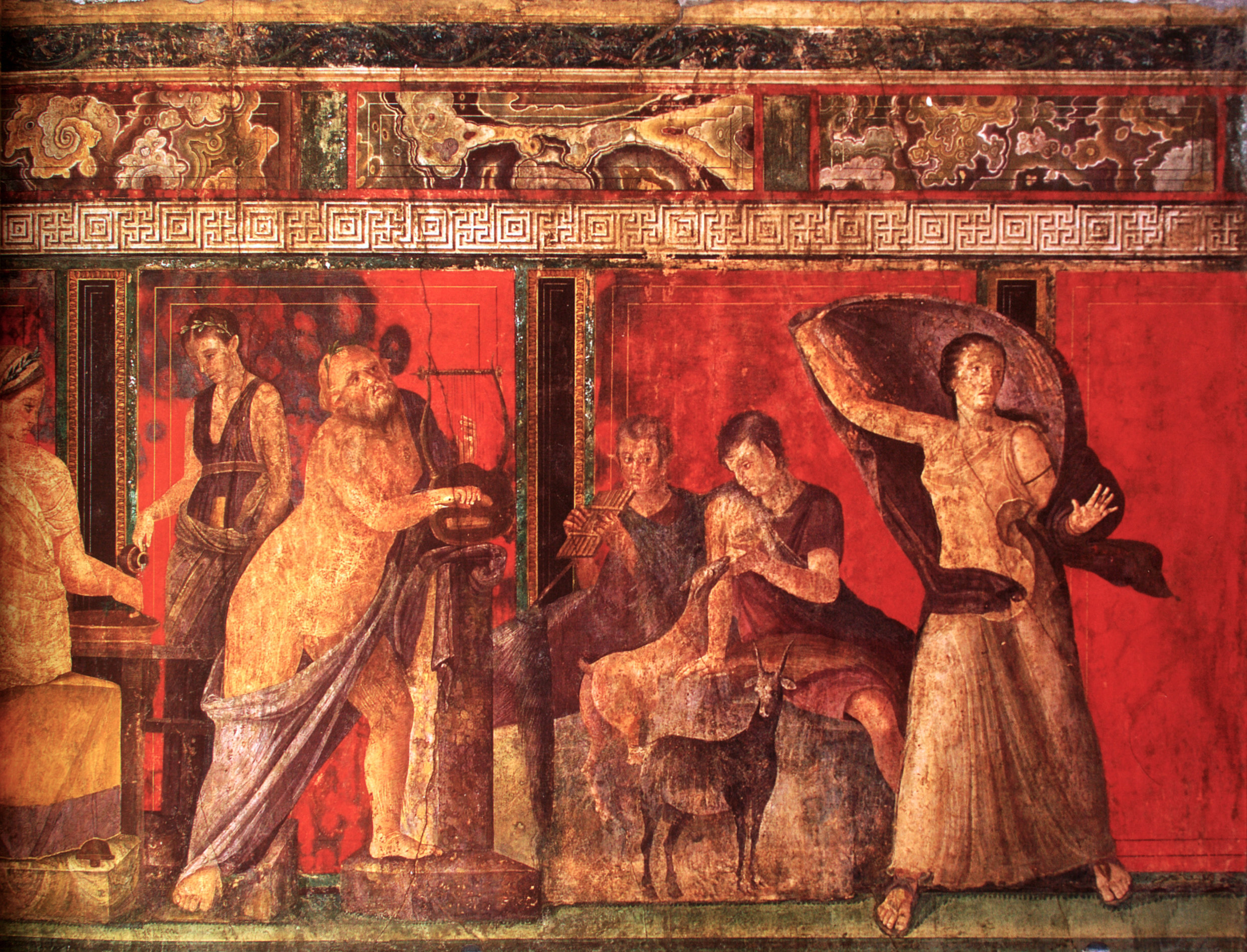Cult Ritual + marriage ceremony = a surefire good time. - A fresco of a mystery ritual related to Dionysus from the Villa of the Mysteries, Pompeii, Italy. Wikicommons