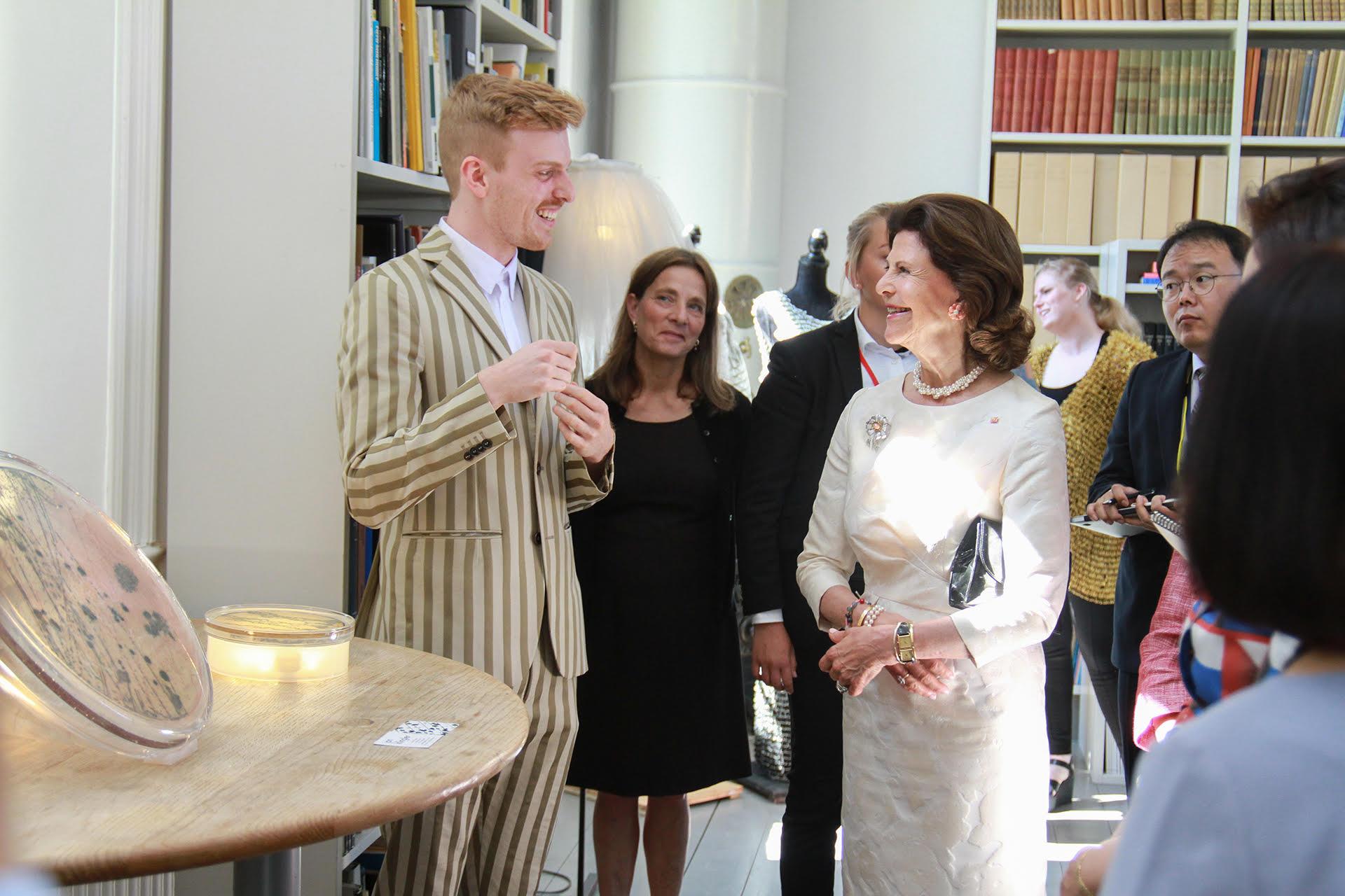 Designer Jan Klingler and Queen Silvia of Sweden. Photo: Henrik Garlöv/The Royal Court of Sweden