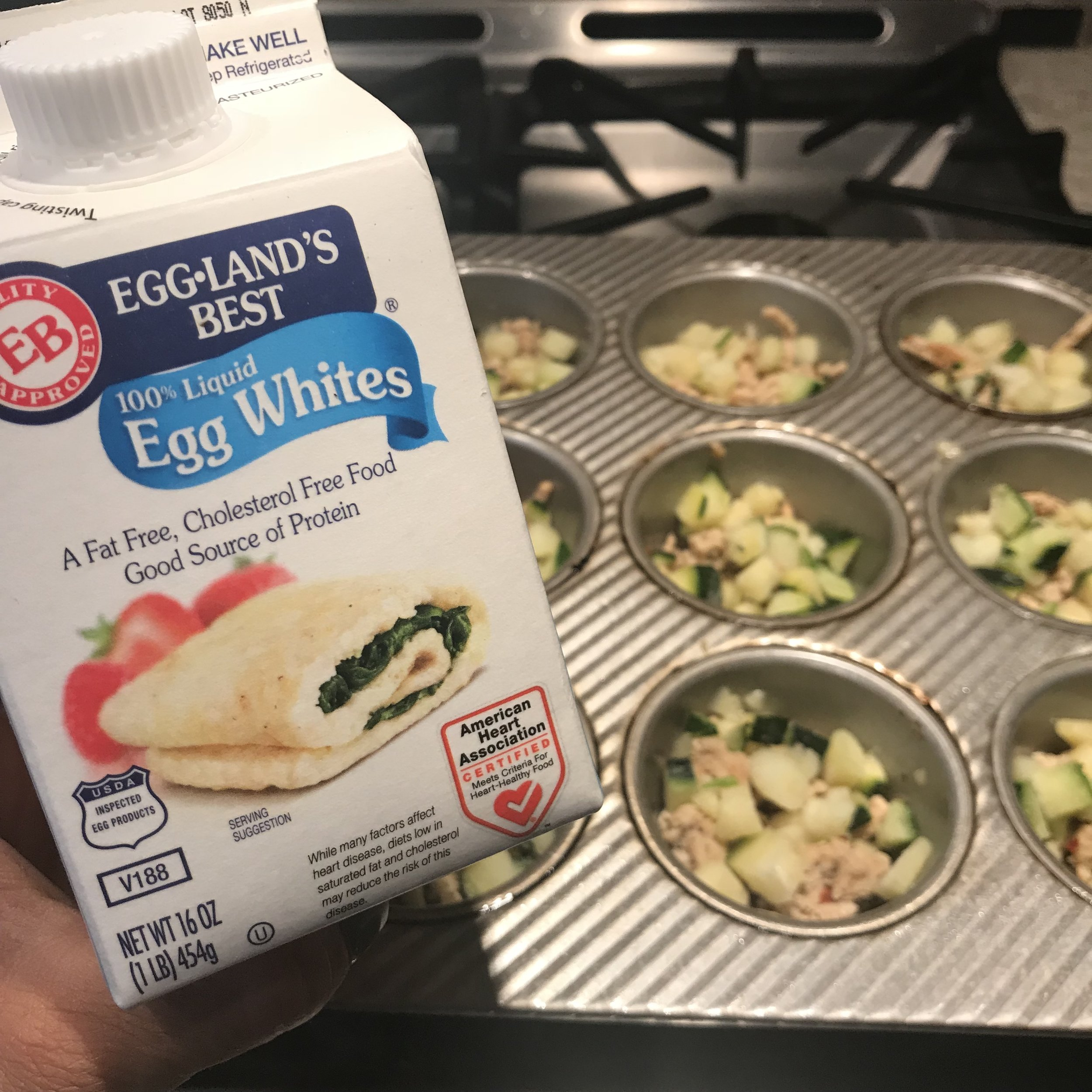 One 16 oz container of egg whites is perfect for a 12 - cupcake pan.