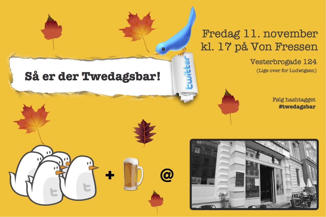 Så er der #twedagsbar igen  Fredag 11. november! Tilmeld jer her:   twedagsbar.dk