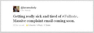 """Om konsekvensen af forskellige virkeligheder - aka #Fullrategate      Forleden postede mine gode veninde  Lara  en update på twitter, hvor hun udtrykte sin utilfredshed med et produkt fra Fullrate.   Det er klart at alle vi der følger hende kunne kommentere og reagere på det, men jo selvsagt ikke rigtigt ku' hjælpe hende.    Det kunne derimod Fullrate, som læste med, og i sidste ende fandt og kontaktede hende via deres kunderegister, pr. e-mail.(en mindre fodfejl, da det korrekte nok ville have været at kontakte hende på twitter, men helt uvæsentligt i det store billede).Sagen er allerede blevet livligt kommenteret både på twitter og på forskellige corporate blogs, hvor firmaer med eksperter i sociale medier ryster på hovedet over Forbrugerrådets reaktion. Forbrugerrådet udtalte nemlig at sagen er et billede på at vi skal være opmærksom på """"overvågning"""" fra firmaer, og værne om vores privacy på nettet. Men har man en offentlig twitterprofil er man som oftest interesseret i at andre læser med. Ikke mindst dem man direkte eller indirekte henvender sig til. Og Fullrate læste med, og kontaktede altså Lara, med tilbud om at hælpe hende.      Lara var selvsagt glad for at Fullrate på den måde indså at hun havde brug for hjælp, og ytrede naturligvis dette på twitter, i form afen positiv update om sagen, og på sin blog . Det kan alle vi der færdes hjemmevant på twitter være helt enige om. Hvad der sker når firmaer ikke følger med på twitter kan man med stor fornøjelse læse sig til i sagen Dooce vs. Maytag.     Hvad der derimod sker når journalister har bestemt sig for en særligt negativ vinkel på sagen, og Forbrugerrådet udtaler sig om dette - er at skellet mellem de(vi) der færdes sikkert og trygt på twitter, og de, der ikke gør, står lysende klart. Og -hvad er langt værre- det er med til at grave grøften dybere. For de, der ikke har fidus til twitter bliver kun bekræftet i deres fordomme, og Forbrugerrådet får fornemmelsen af at forbrugerne generelt er bange for en virkel"""