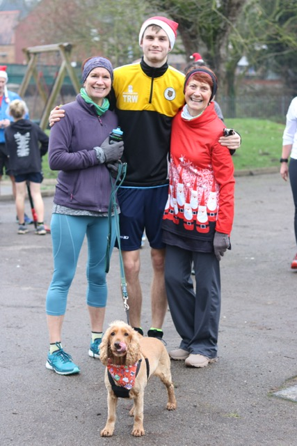 Three generations at xmas day park run, plus Willow