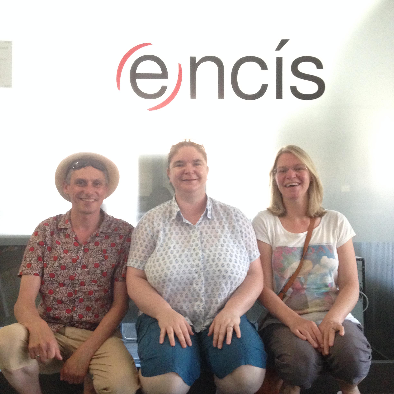July 2015 :  Dan Rees-Jones ,  Kirsty Wilson  &  Debbie Woods  in Manresa, Spain visiting the Encis Office after a site visit to La Lluna assessing play value.