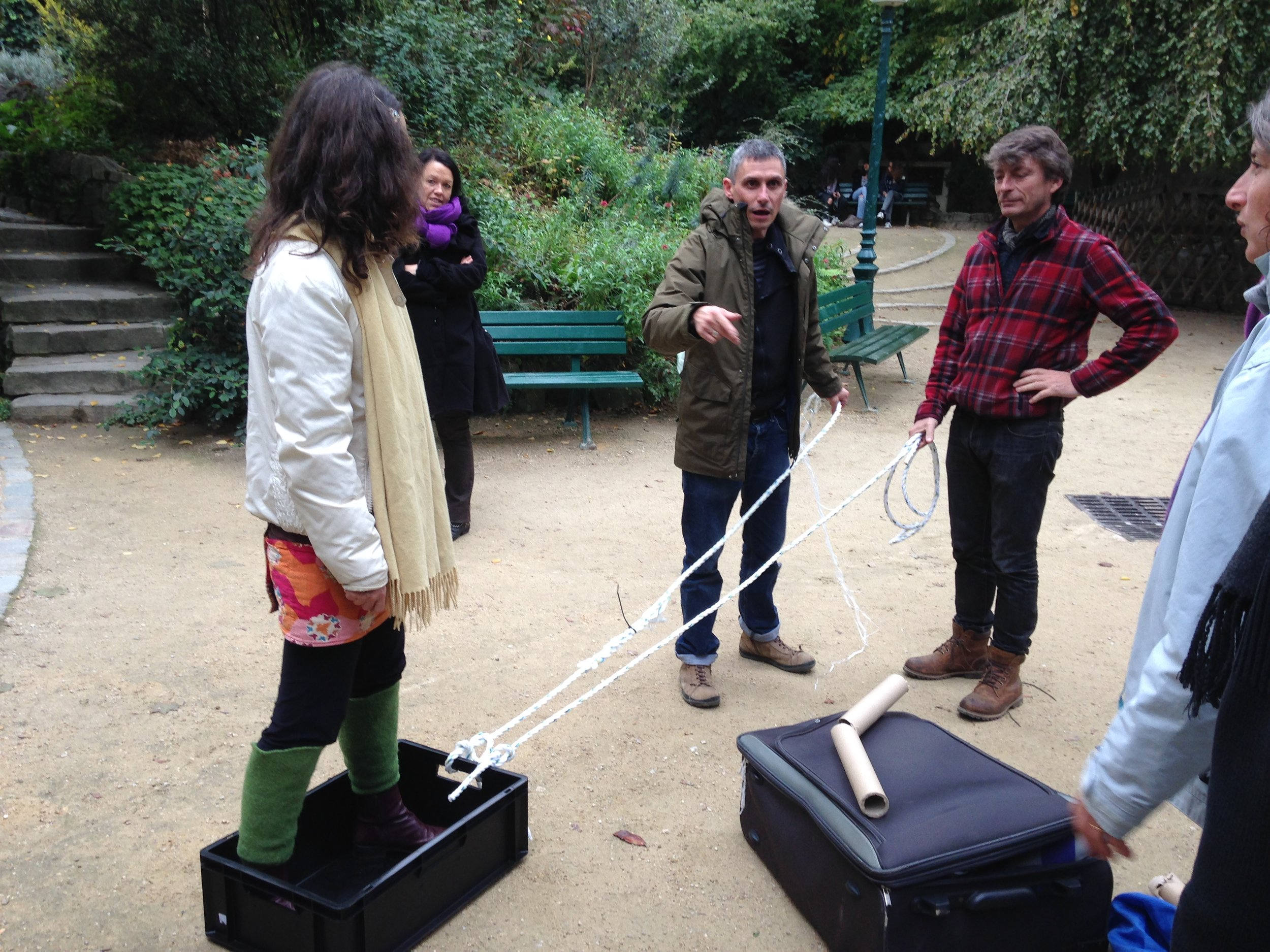 October 2015 :  Dan Rees-Jones  delivering training on Risk Benefit Assessment within a public park shortly before being properly 'told off' by The Guardian of the Park for introducing loose parts!