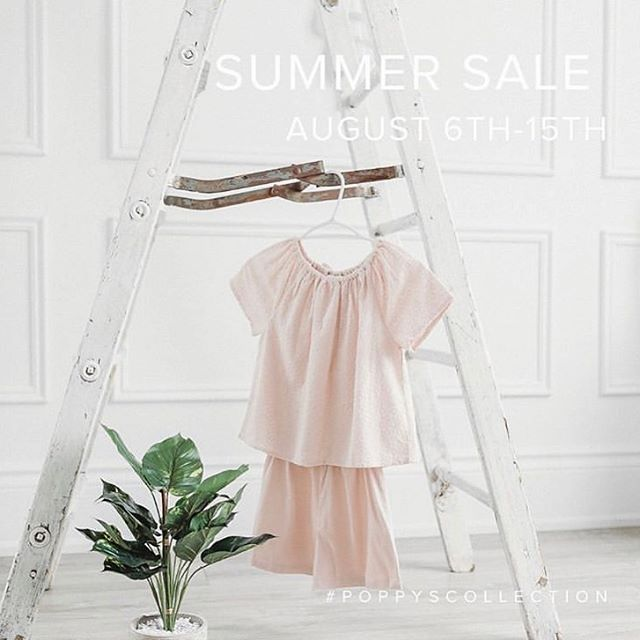 Poppy's SUMMER SALE. August  6th - 15th 30% off in store and online. Stop by the Pop-up Shop at the SWS Marina in Minett, Muskoka  @poppyscollection