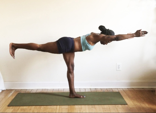 virabhadrasana 3. (back foot flexed. toes down.)