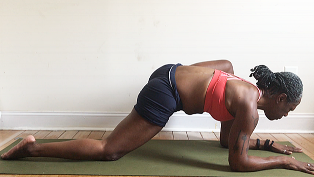 utthan pristhasana. variation with back knee down