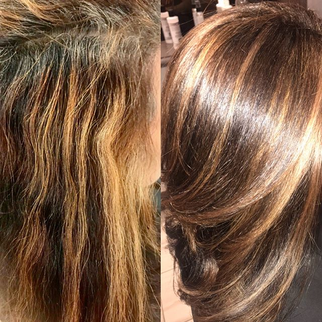 color correction 🎭 before/after.... (2nd photo taken with ring light a week later)  #goldwellcolor #framarbrushes  #reynoldsfoil 👩🏻‍🎨🎨