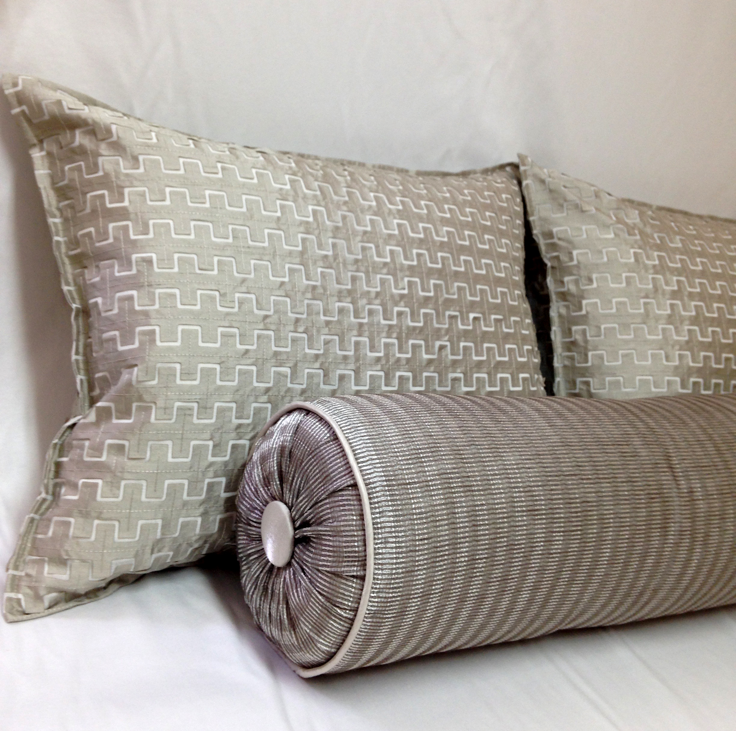 Textured Pillows with Self Flange and Bolster for Tracy deShazo Interiors