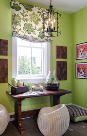 Designer House Relaxed Roman Shade and Custom Dog Bed for Kathy Corbet Interiors