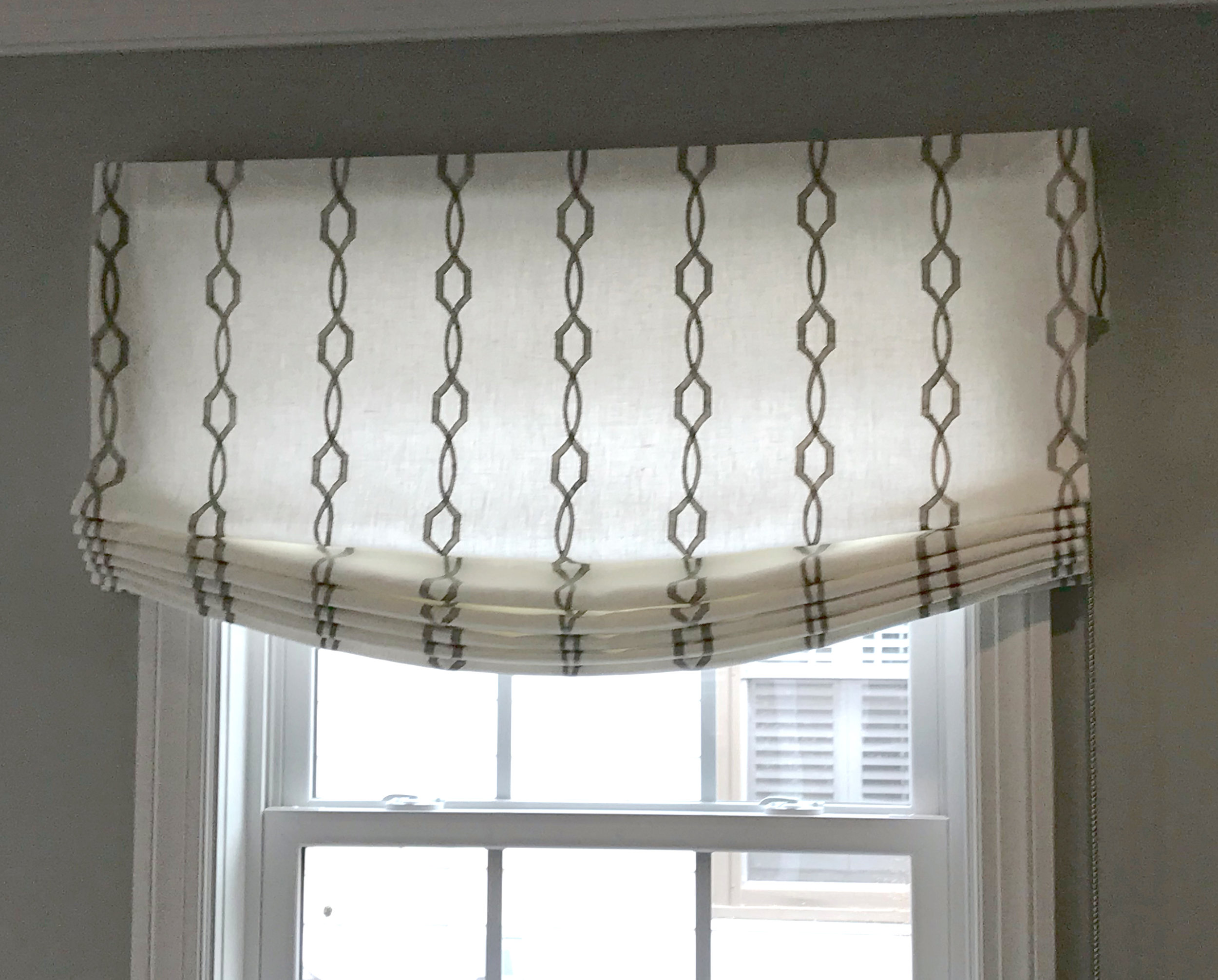 Functioning Sheer Roman Shade Lined in Sheer and Pleated to the Pattern for Kathy Corbet Interiors