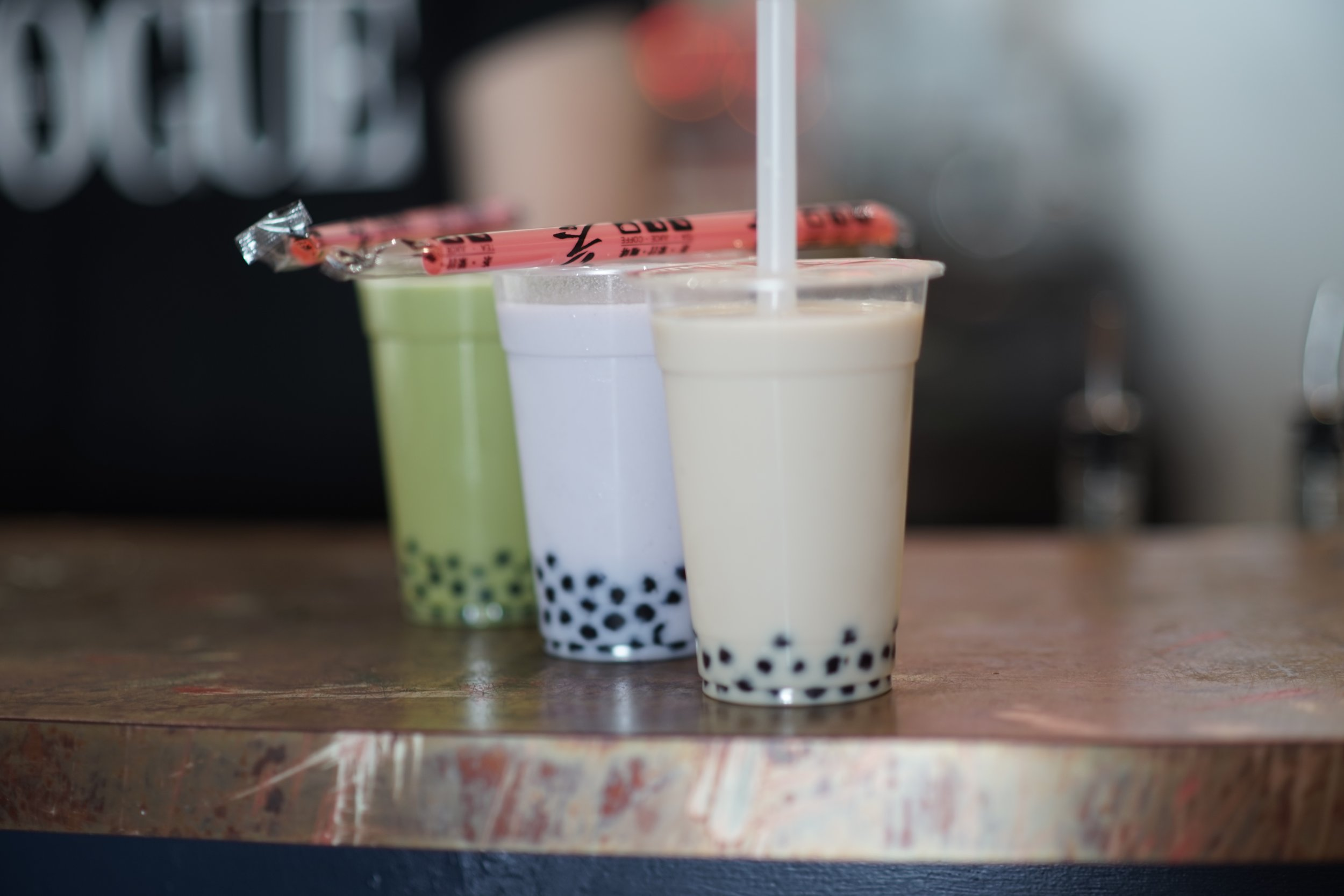 Ramo Ramen sells fresh, real leaf bubble teas with homemade tapioca pearls and other toppings. Pictured above are three of our most popular flavours: matcha, taro, and assam black.