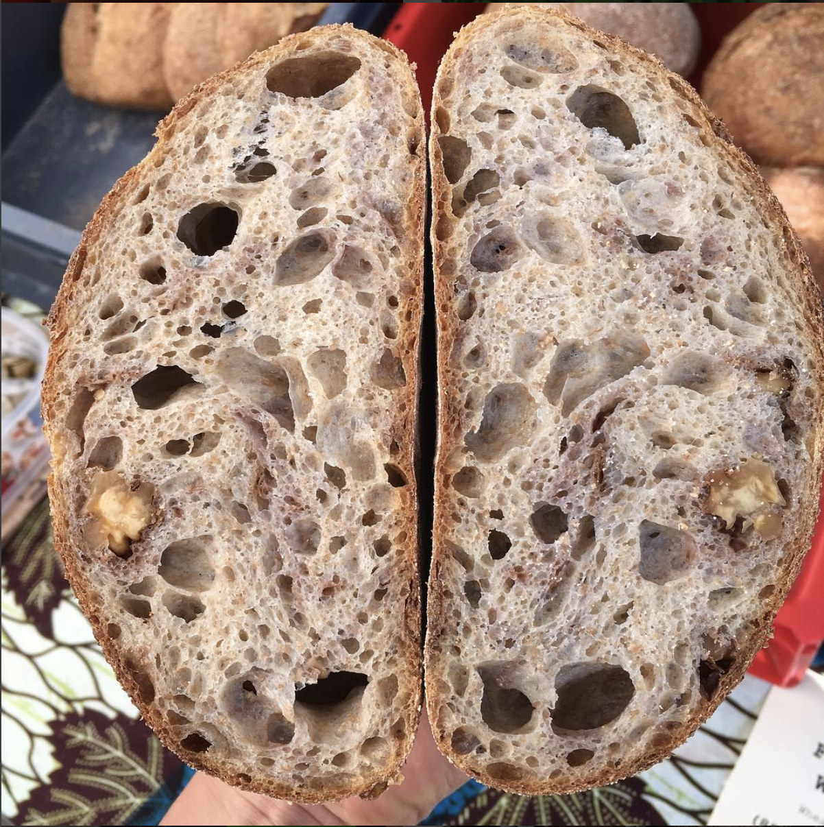 Walnut MAch sourdough - Full of toasted walnuts. Made with the same dough as the Mach Sourdough. This loaf is perfect with cheese, sweet preserves and nut butters, and toasted with ricotta and a drizzle of honey. Tasty sourdough with fresh and crunchy walnuts thrown in.(550g. Wheat (gluten), walnuts, salt)