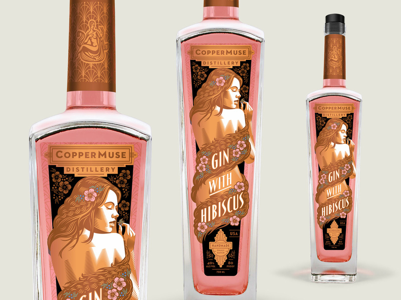 The rosy color of our gin is from hibiscus flowers. CopperMuse Gin with Hibiscus is a delicate and drinkable gin.