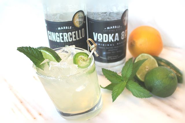 Who joined us for the tasting with @marbledistillingco last week? Mmmmm, mmmmm, good!  Here's a little recipe for your weekend!  The Marble-Rita Yields one cocktail, serve in a rocks glass.  1.5 oz Gingercello .5 oz Marble Vodka 2 oz Stripped Margarita Mix Crystallized Ginger Honey  Shake first 3 with ice & pour into glass Dip ¼ of the glass rim in honey Dip again into well-ground crystallized ginger Garnish with fresh mint & jalapeño slice🌿 . . . #acmeliquor #acmeliquorstore #drinkcrestedbutte #whiskey #whisky #spirits #vodka #gingercello #marbledistilling #marblecolorado #aspencolorado #zerowaste #sustainablespirits #drinkup #happyhour #freewhiskey #whiskeyadvocatemagazine #Smallbatch #smallbatchspirits #americanwhiskey #americanspirits #smallbatchdistiller #drinksustainably #liquidchange #shoplocal #buylocal #drinklocal #crestedbutte #crestedbutteco #marblerita