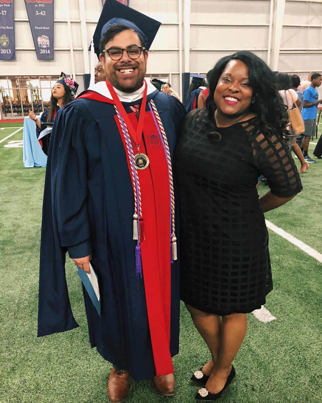 White with former CICCE graduate assistant Edwin Bynoe at the 2018 Celebration of Achievement ceremony.