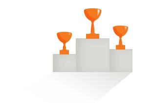 Icon, das den CHILDREN Jugend hilft! Wettbewerb symbolisiert: Podest mit Pokalen