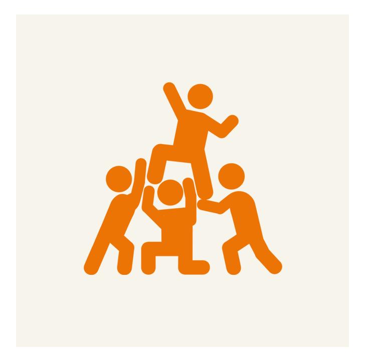 Icon zeigt Menschen, die sich gegenseitig helfen. Das symbolisiert das Programm CHILDREN Jugend hilft!