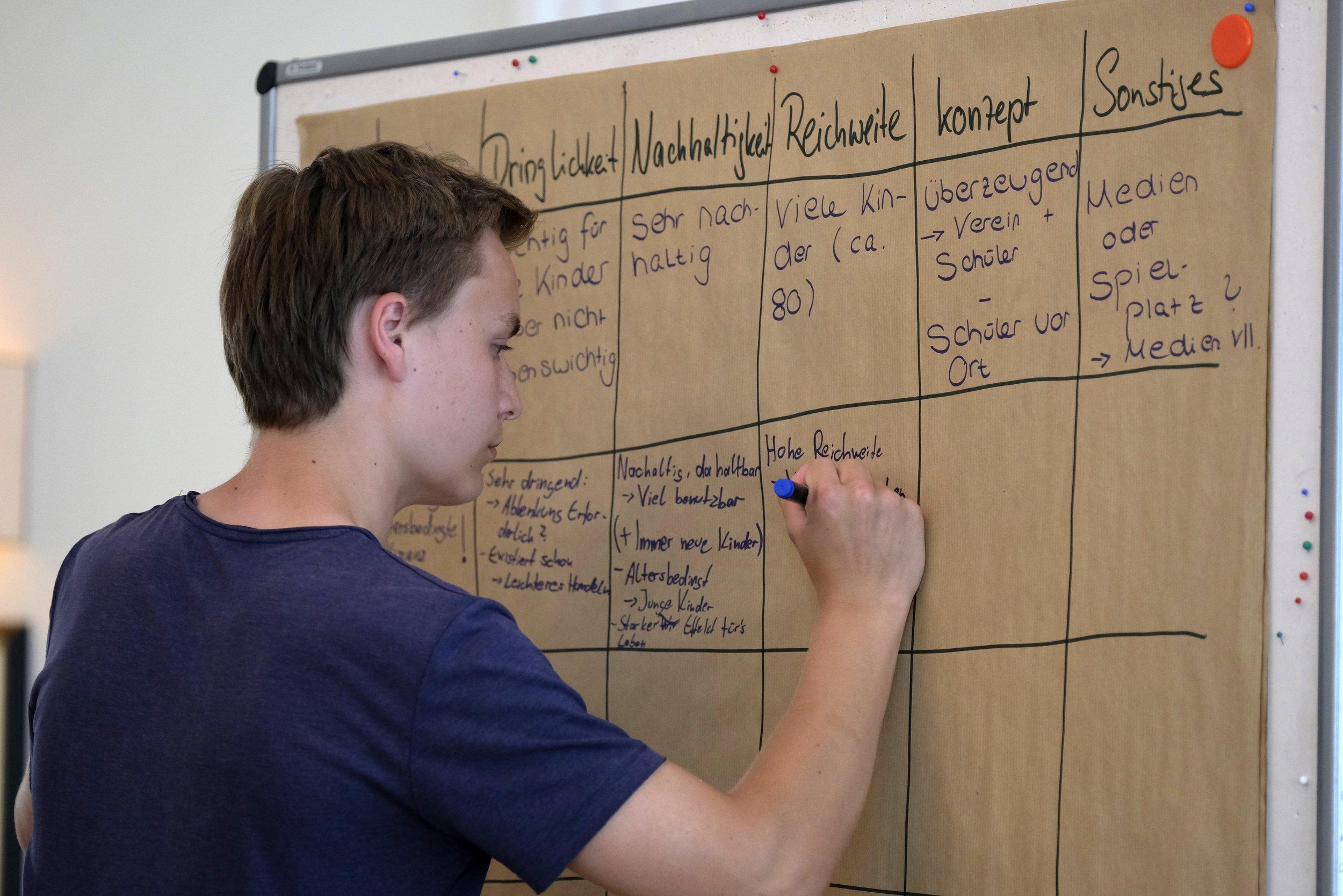 Bild vom CHILDREN Kinderbeirat (Partizipation): Ein Junge bewertet einen Förderantrag