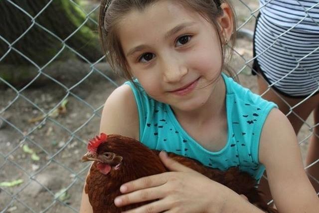 Ihr Spende ermöglicht armen Kindern, ihren Brennpunkt-Stadtteil zu verlassen. So konnte dieses Mädchen hier einen Bauernhof besuchen.