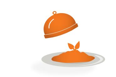 Icon, das den CHILDREN Mittagstisch symbolisiert: Eine Glosche mit Pasta darunter.