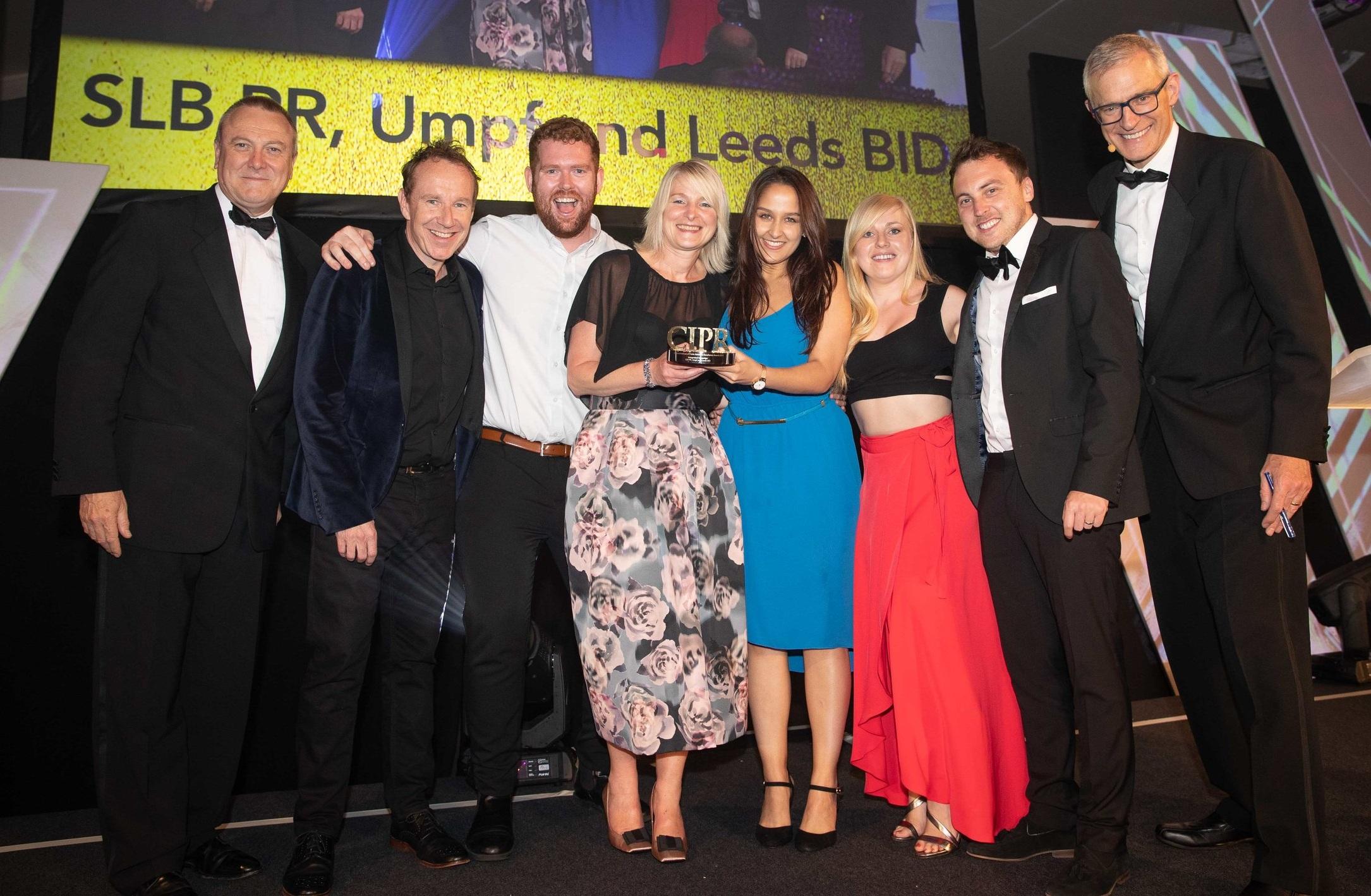 SLB PR's Sam Johnson (3rd left) joins LeedsBID's Sara Towns (centre) and Umpf PR