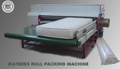 "A typical roll packing machine used in third party fabrication houses where ""bed in a box"" foam mattresses are made using polyurethane foams and other materials."