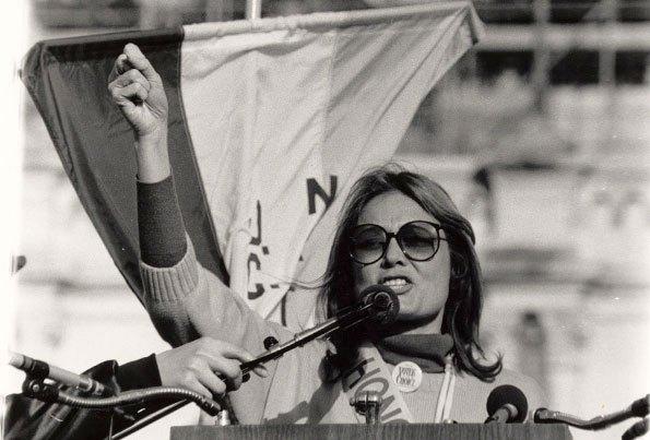 Gloria Steinem, giving Harvard University a piece of her mind.