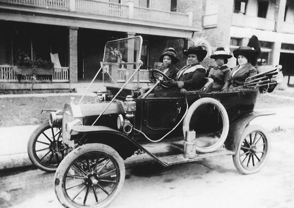 Sarah Breedlove, known as hair-care entrepreneur Madam C.J. Walker, driving her car in 1916. One of America's first self-made female millionaires.
